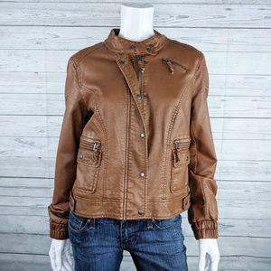 Bagatelle Faux Leather Moto Jacket Sz M